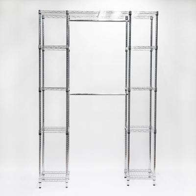 14 in. D x 56 in. W x 83 in. H Chrome Steel Expandable Closet System