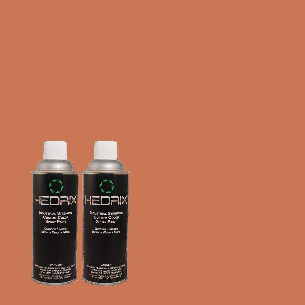 Hedrix 11 oz. Match of Warm Terra Cotta PMD-11 Gloss Custom Spray Paint (2-Pack)
