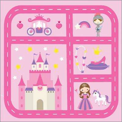Princess Play Town Pink 4 ft. x 4 ft. Kids Rug