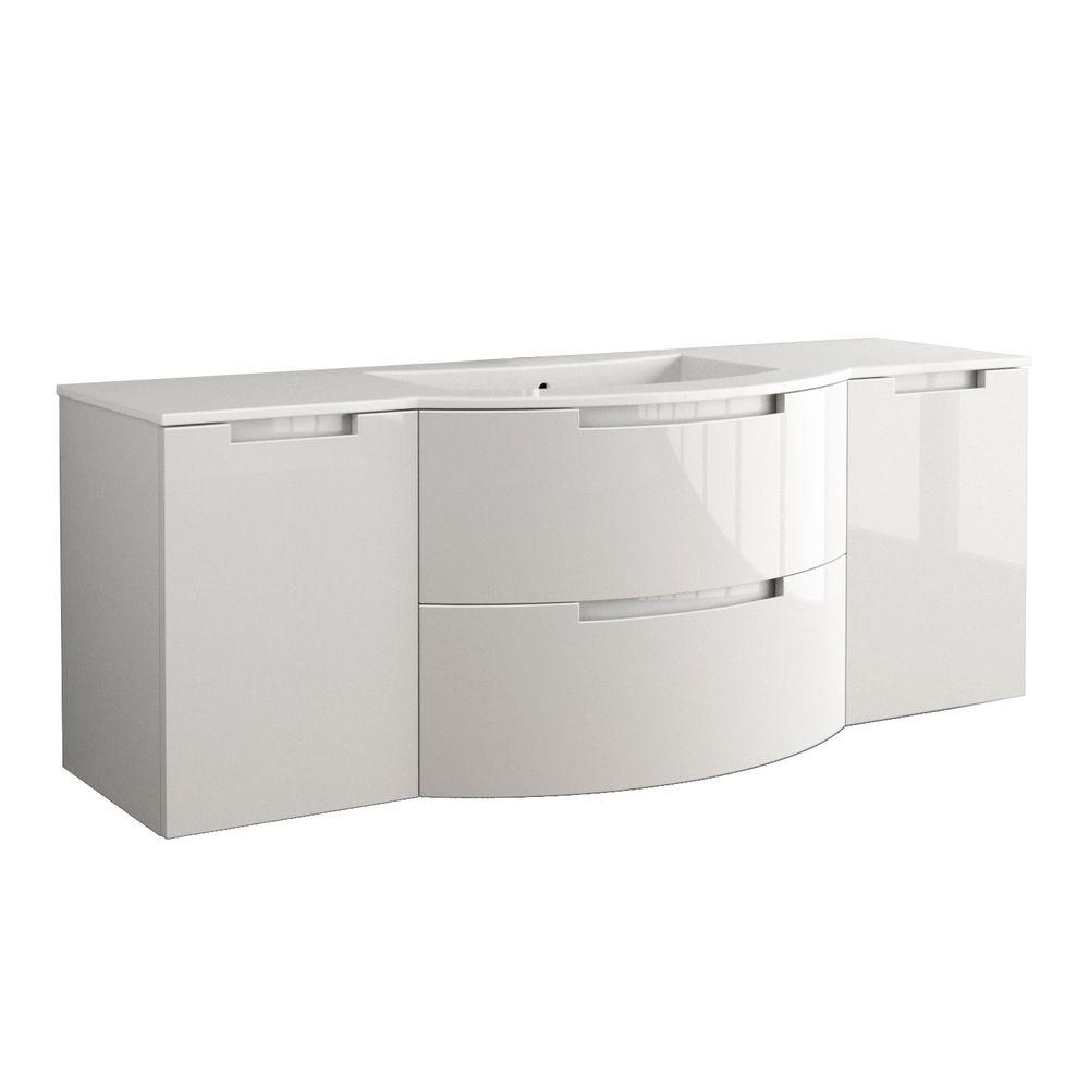 e9b0a563ec2 D Bath Vanity in Glossy Sand with Tekorlux Vanity Top in White with White  Basin on Left