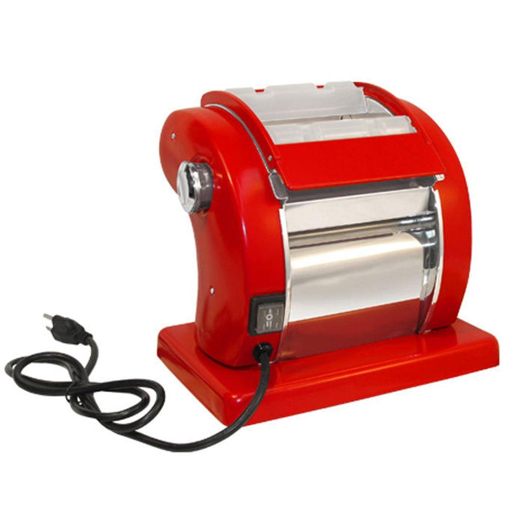 Deluxe Electric Pasta Machine, Red Welcome to the world of pasta making. With a few simple ingredients and the Roma Express Electric Pasta Machine, you will soon be treating your family and friends to a feast of homemade pasta dishes, just like the savory specialties served in authentic Italian restaurants. The Roma Express Pasta Machine is a quality product that will provide years of service to the professional or home chef. This Pasta Machine is comparable to machines costing up to four times as much. You'll start new family traditions with this wonderful machine built to last for generations. Roma Express Pasta Machine features include: A built-in safety switch that immediately cuts power to the motor when the safety cover is opened; Fast/Slow roller-speed control; Adjustable Knob to control dough thickness; Roll dough from thick to thin in minutes. Color: Red.