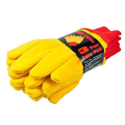 Heavyweight Large Double Layer Yellow Chore Gloves (3-Pair)