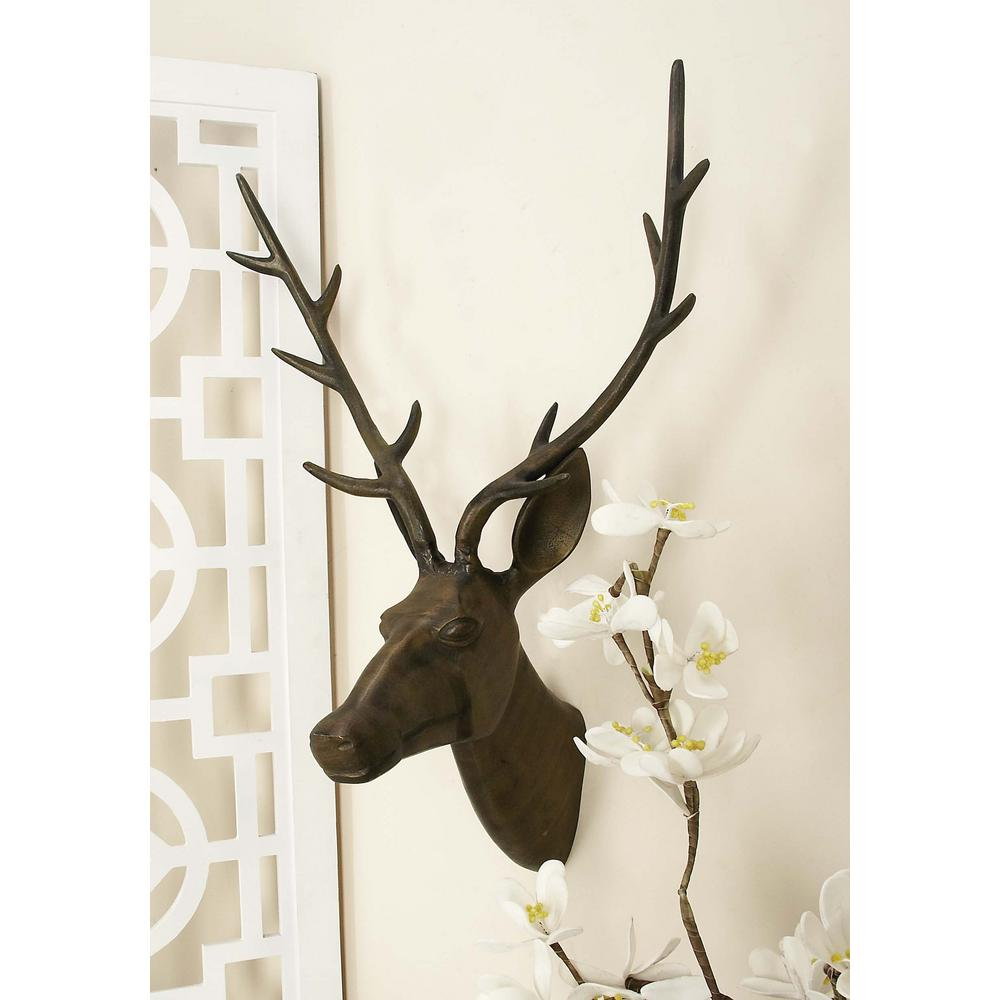Aluminium Deer Head Wall Decor In Tarnished Brown