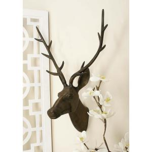 28 inch x 17 inch Aluminium Deer Head Wall Decor in Tarnished Brown by