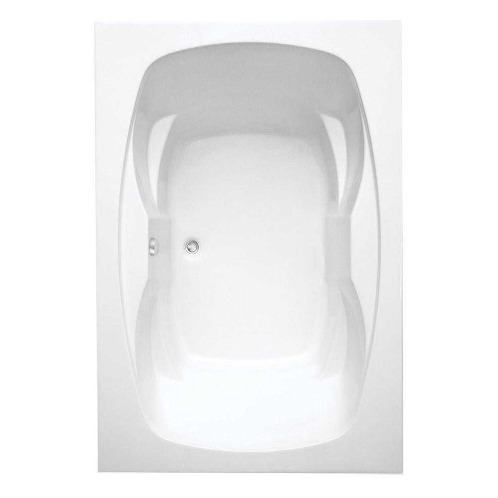 Hialeah II 72 in.Acrylic Center Drain Rectangular Drop-In Soaking Bathtub in