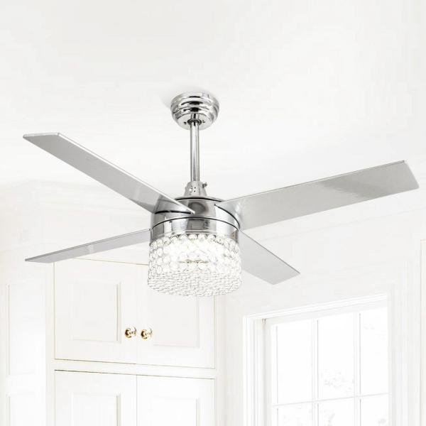 Parrot Uncle Marchand 48 In Indoor Chrome Downrod Mount Crystal Chandelier Ceiling Fan With Light And Remote Control F6213110v The Home Depot
