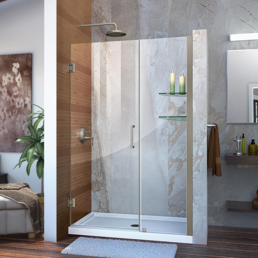 Unidoor 45 in. to 46 in. x 72 in. Frameless Hinged Pivot Shower Door in Brushed Nickel with Handle