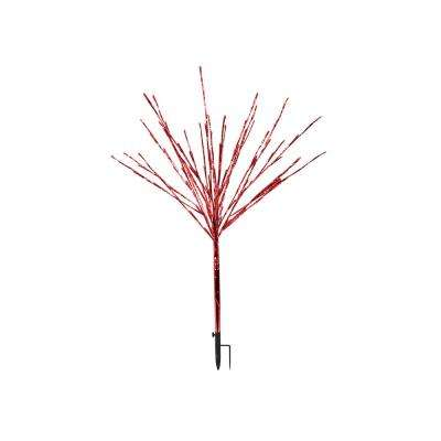 39 in. Silver Taped Bush Lighting Decor with Red LED Lights