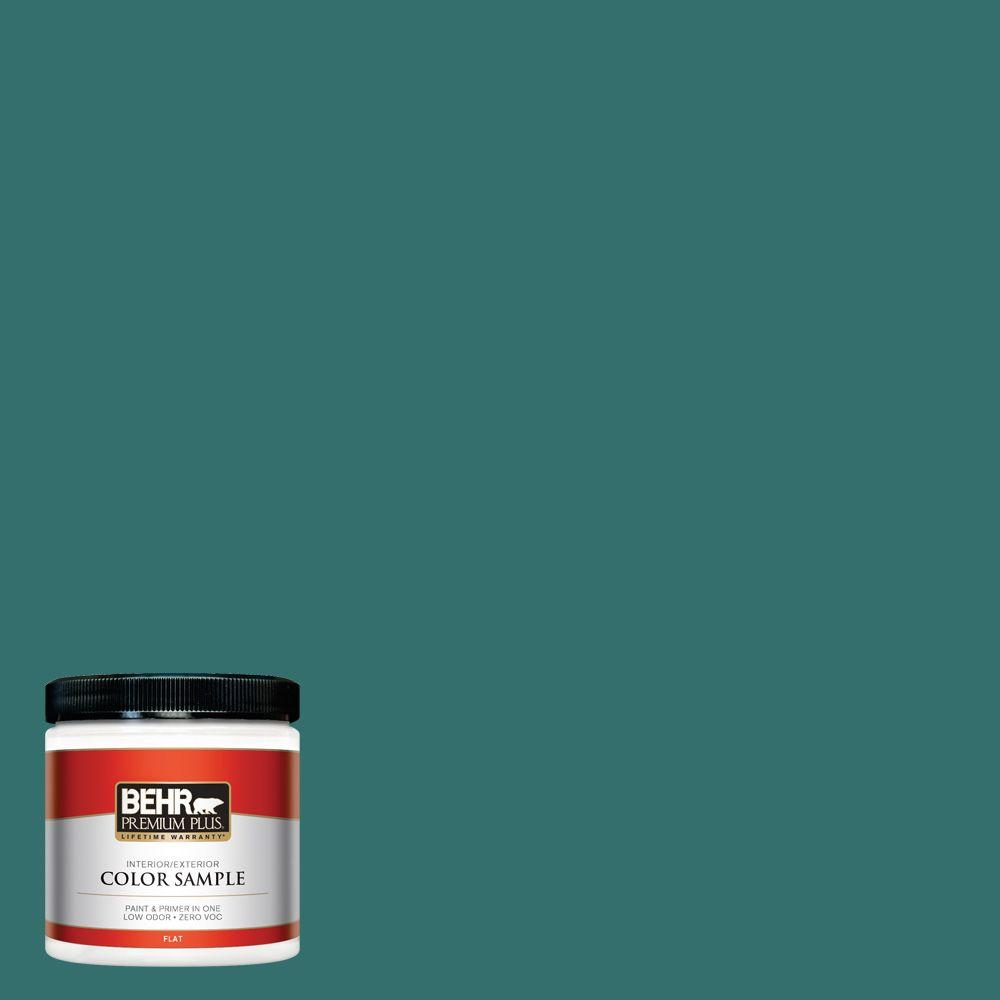 BEHR Premium Plus 8 oz. #500D-7 Caribbean Green Interior/Exterior Paint Sample
