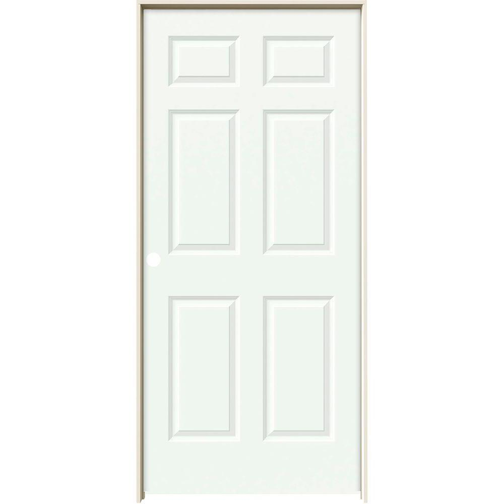 36 in. x 80 in. Colonist White Painted Right-Hand Smooth Solid