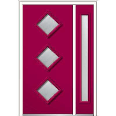 50 in. x 80 in. Aveline Low-E Glass Right-Hand 3-Lite Midcentury Painted Steel Prehung Front Door with Sidelite