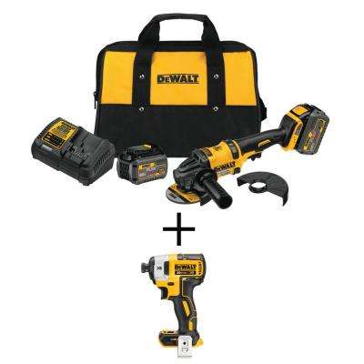 FLEXVOLT 4-1/2 in. 60-Volt MAX Lithium Ion Cordless Brushless Angle Grinder w/Bonus 1/4 in. Impact Driver(Tool-Only)