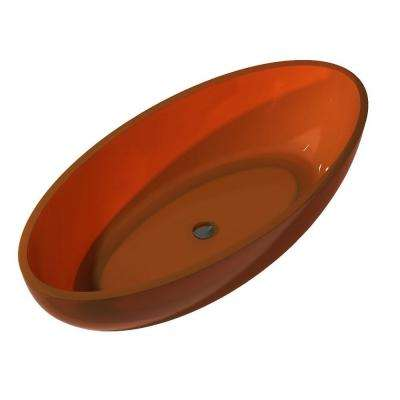 Opal 5.6 ft. Man-Made Stone Center Drain Non-Whirlpool Flatbottom Freestanding Bathtub in Honey Amber