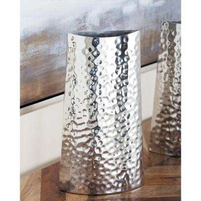 14 in. Hammered Stainless Steel Decorative Vase in Silver