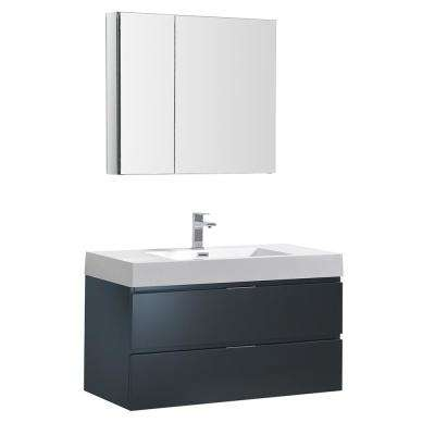 Valencia 40 in. W Wall Hung Vanity in Dark Slate Gray with Acrylic Vanity Top in White with White Basin,Medicine Cabinet