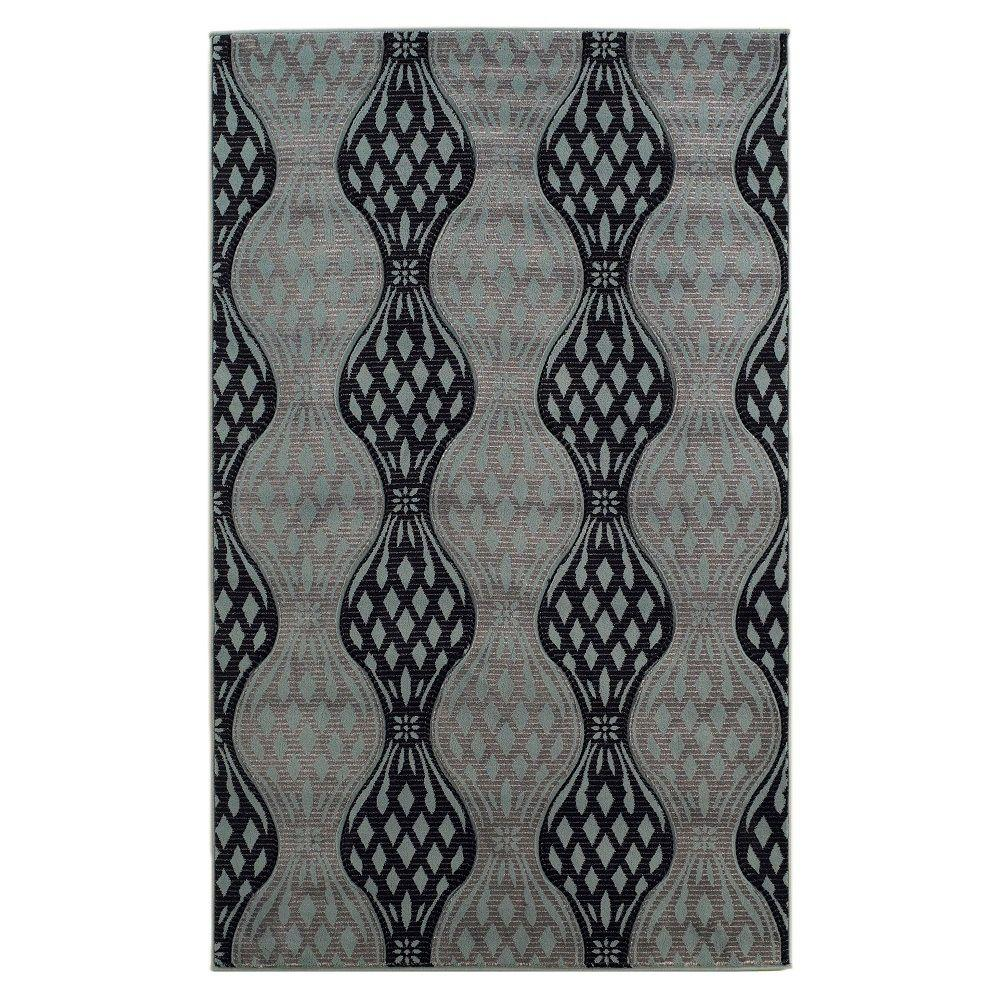 Linon Home Decor Milan Collection Black and Turquoise 1 ft. 10 in. x 2 ft. 10 in. Indoor Area Rug