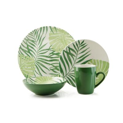 16-Piece Palm Leaf Green Stoneware Dinnerware Set (Service for 4)