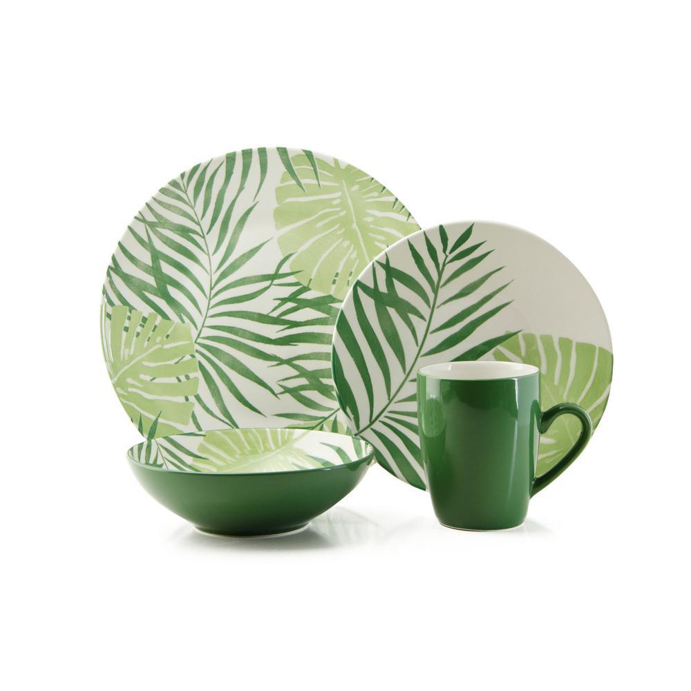 Palm Leaf 16-Piece Casual Green Ceramic Dinnerware Set (Service for 4)