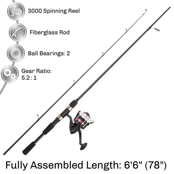 Unbranded Black And Pink 6 Ft 6 In Fiberglass Fishing Rod And Reel Combo Portable 2 Piece Pole With 3000 Aluminum Spinning Reel 905565xxp The Home Depot
