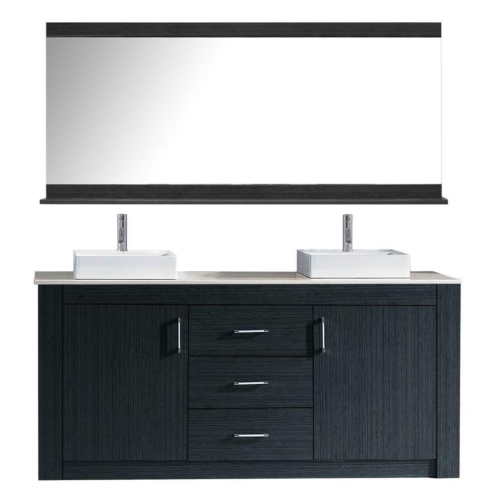 Virtu USA Tavian 72 in. Vanity in Grey with Quartz Vanity Top in Elegant Cashmere and Mirror
