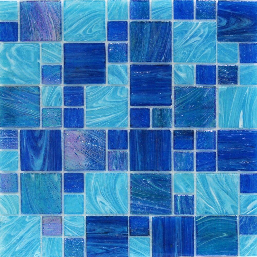 Aqua Blue Ocean French Pattern 11.62 in. x 11-3/4 in. x 5 mm Glass Mosaic Tile