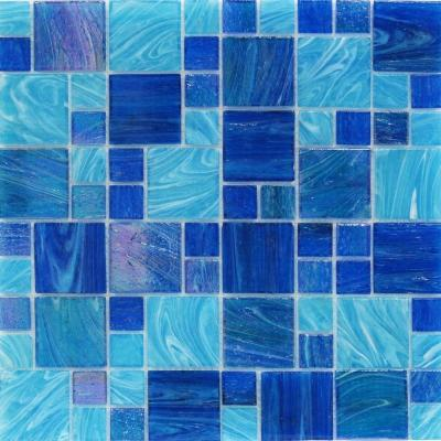 Aqua Blue Ocean French Pattern 11.62 in. x 11-3/4 in. x 5 mm Glass Mosaic Tile