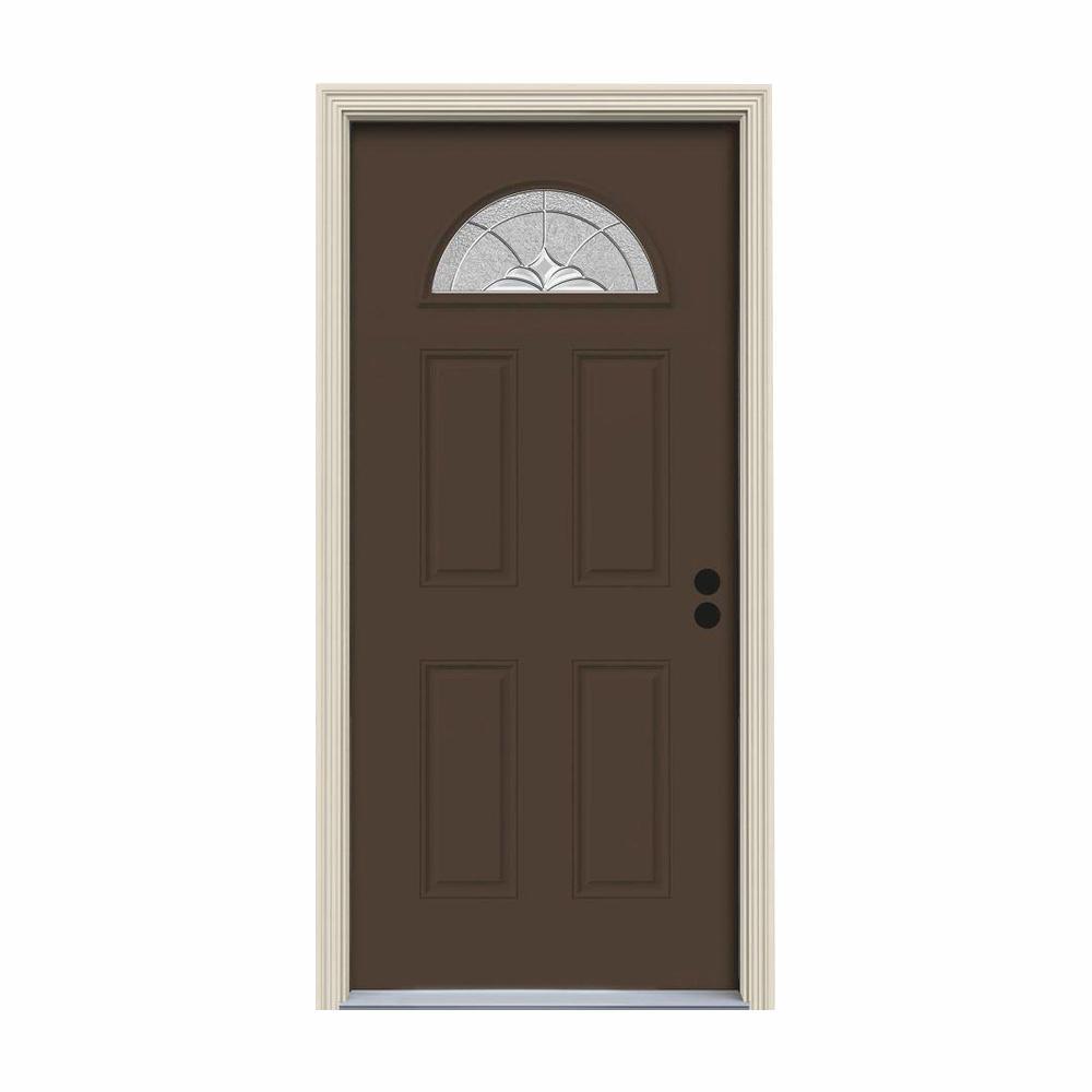 JELD-WEN 32 in. x 80 in. Fan Lite Langford Dark Chocolate Painted Steel Prehung Left-Hand Inswing Front Door w/Brickmould