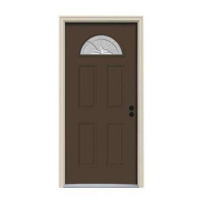 32 in. x 80 in. Fan Lite Langford Dark Chocolate Painted Steel Prehung Left-Hand Inswing Front Door w/Brickmould