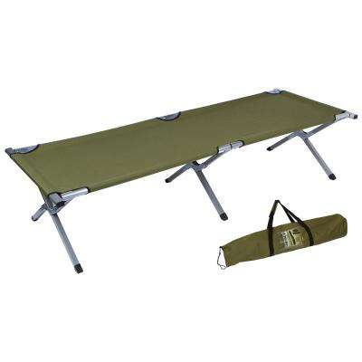 75 in. Portable Folding Camping Bed and Cot - 260 lbs. Capacity (Olive Green)