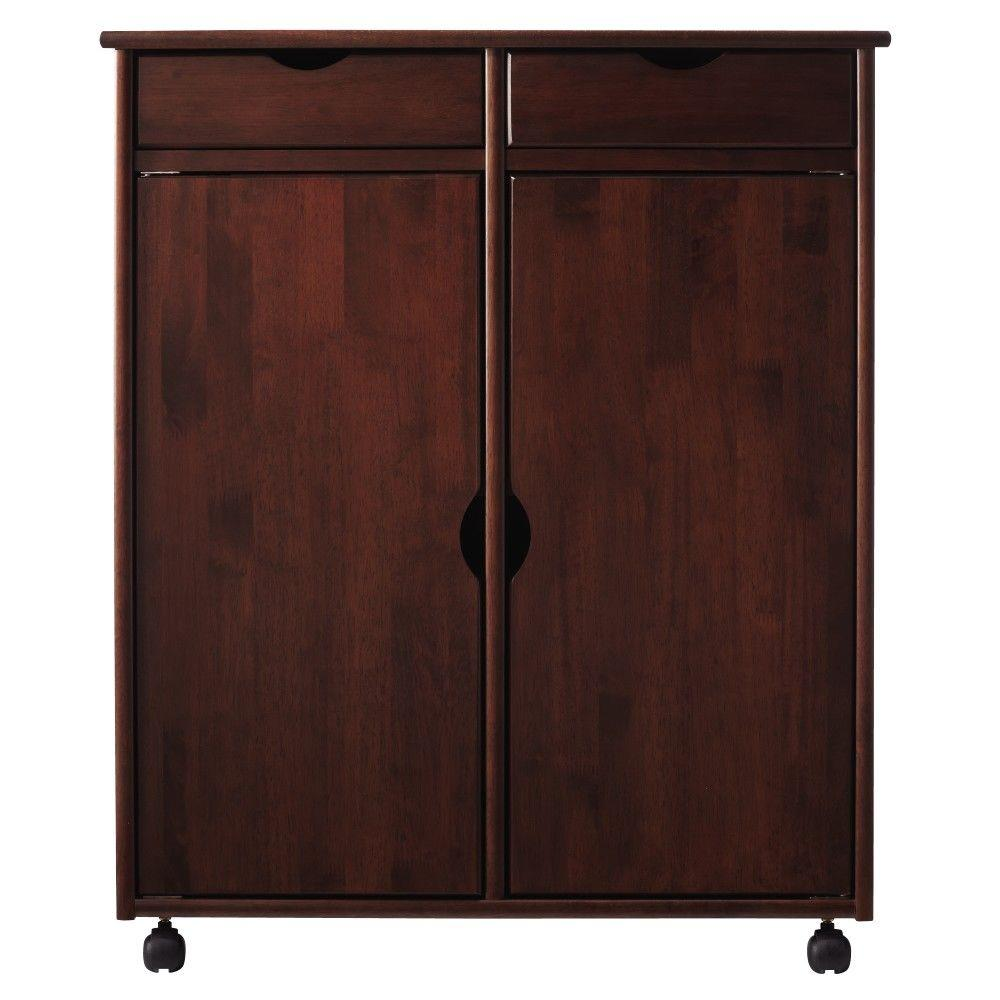Home Decorators Collection Stanton 29 in. Dark Cherry 2-Drawer with 2-Door Storage Cart