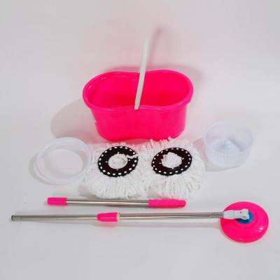 360° Spin Mop with Bucket and Dual Mop Heads in Pink
