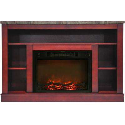 Oxford 47 in. Electric Fireplace with a 1500-Watt Log Insert and Cherry Mantel