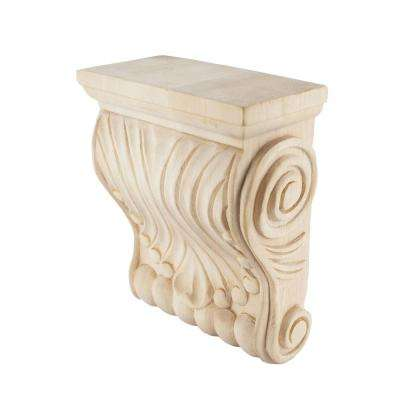 6-3/4 in. x 5-1/2 in. x 2-3/4 in. Unfinished North American Large Solid Hard Maple Hand Carved Corbel