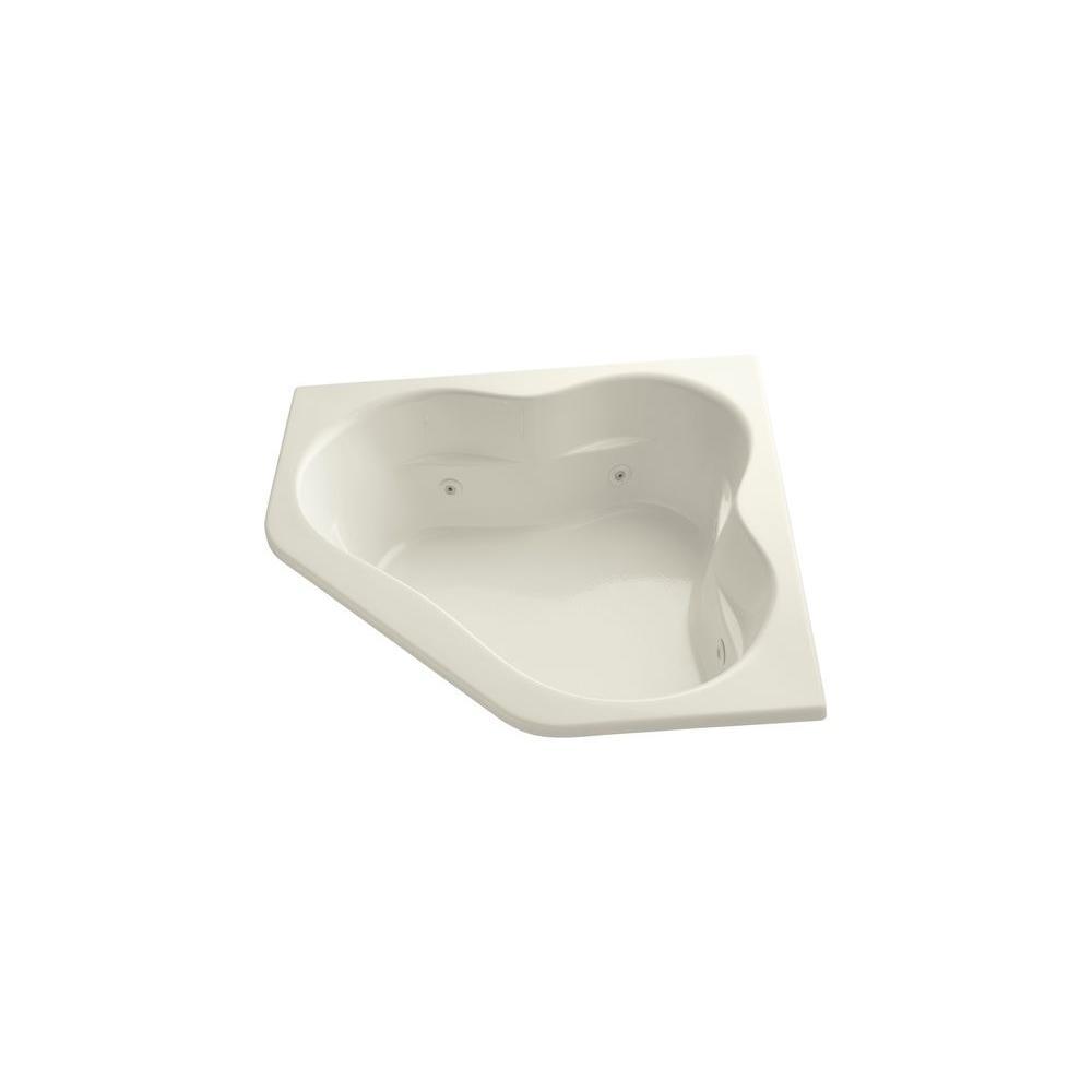 Tercet 5 ft. Corner Drop-in Whirlpool Bathtub in Biscuit