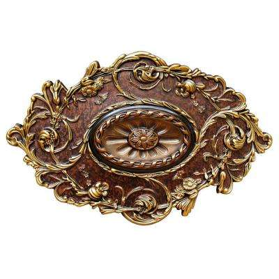 20 in. x 30-1/2 in. Golden Diamond, Bronze, Gold and Copper, Polyurethane Hand Painted Ceiling Medallion