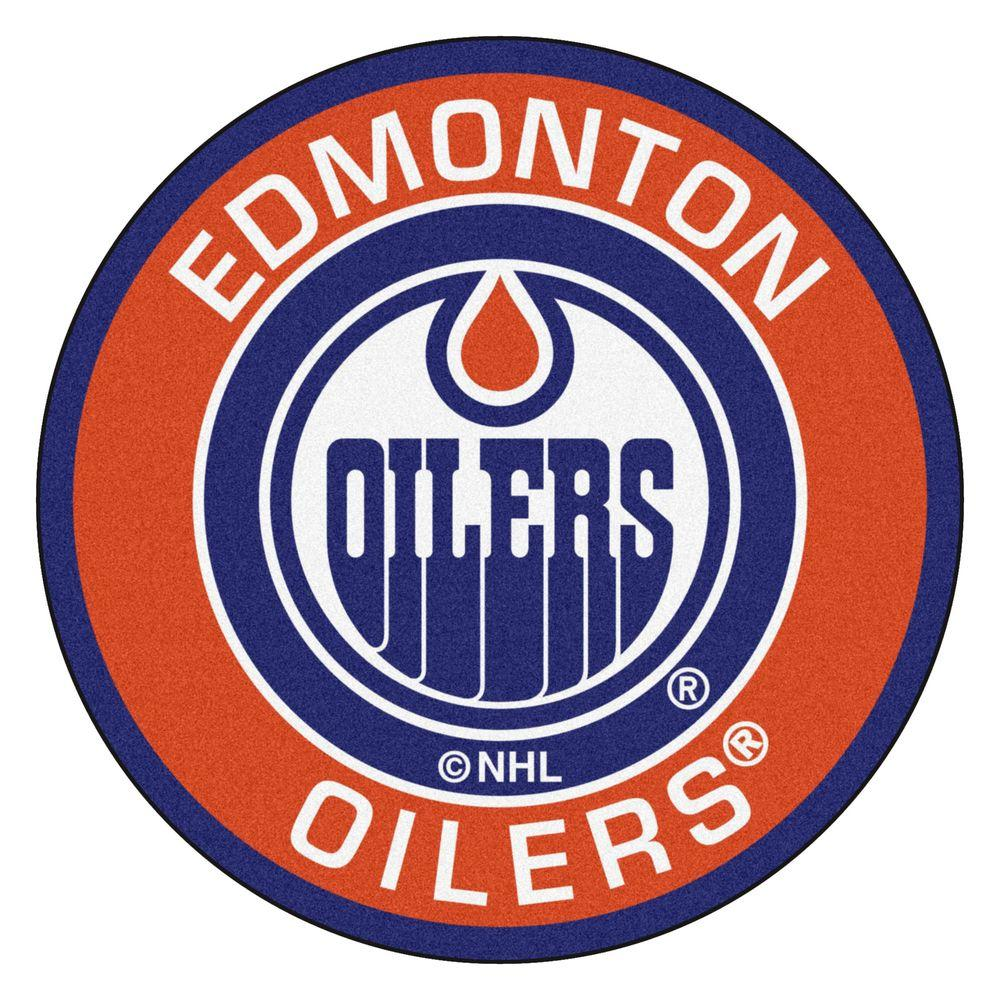 FANMATS NHL Edmonton Oilers Orange 2 ft. x 2 ft. Round Area Rug
