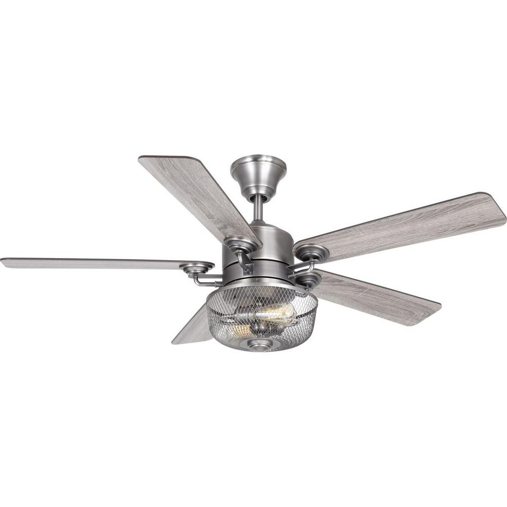 Progress Lighting Greer 54 in. Integrated LED Indoor Antique Nickel Indoor or Outdoor Ceiling Fan with Light Kit and Remote