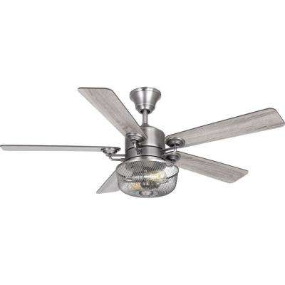 Greer 54 in. Integrated LED Indoor Antique Nickel Indoor or Outdoor Ceiling Fan with Light Kit and Remote