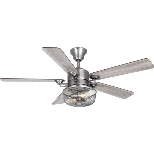 Progress Lighting Greer 54 In Integrated Led Indoor Antique Nickel Indoor Or Outdoor Ceiling Fan With Light Kit And Remote P2584 81 The Home Depot