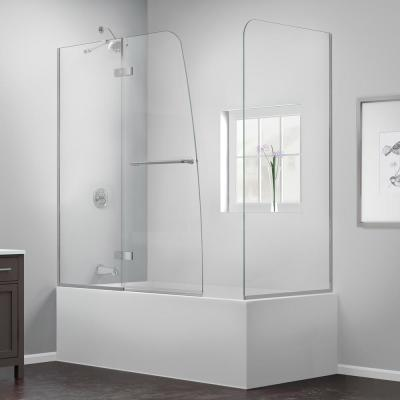 Aqua Ultra 57 to 60 in. x 58 in. Semi-Frameless Hinged Tub Door with Return Panel in Chrome