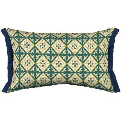 Artisans 12 in. x 20 in. Khalid Moroccan Tile Lumbar Throw Pillow with Side Flange