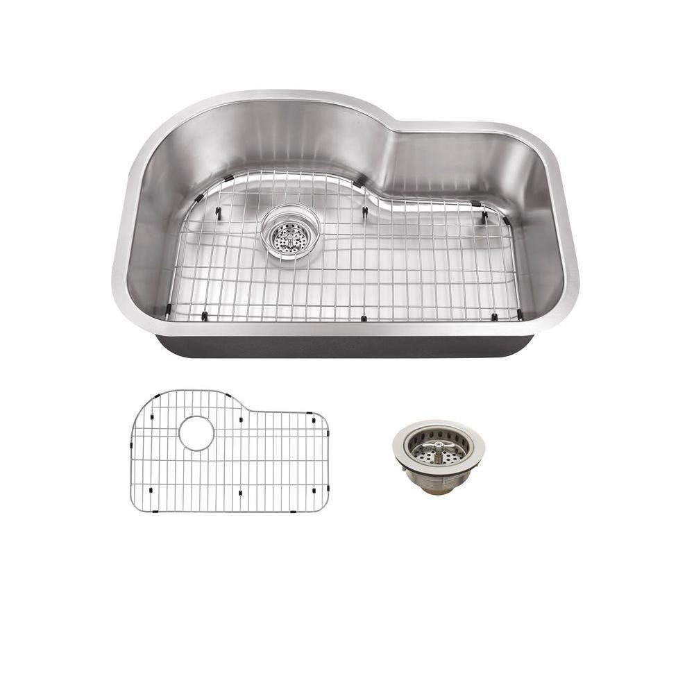 Schon All-in-One Undermount Stainless Steel 31.5 inch Single Bowl Kitchen Sink by Schon
