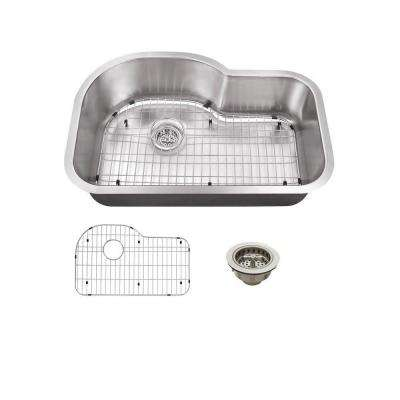All-in-One Undermount Stainless Steel 31.5 in. Single Basin Kitchen Sink
