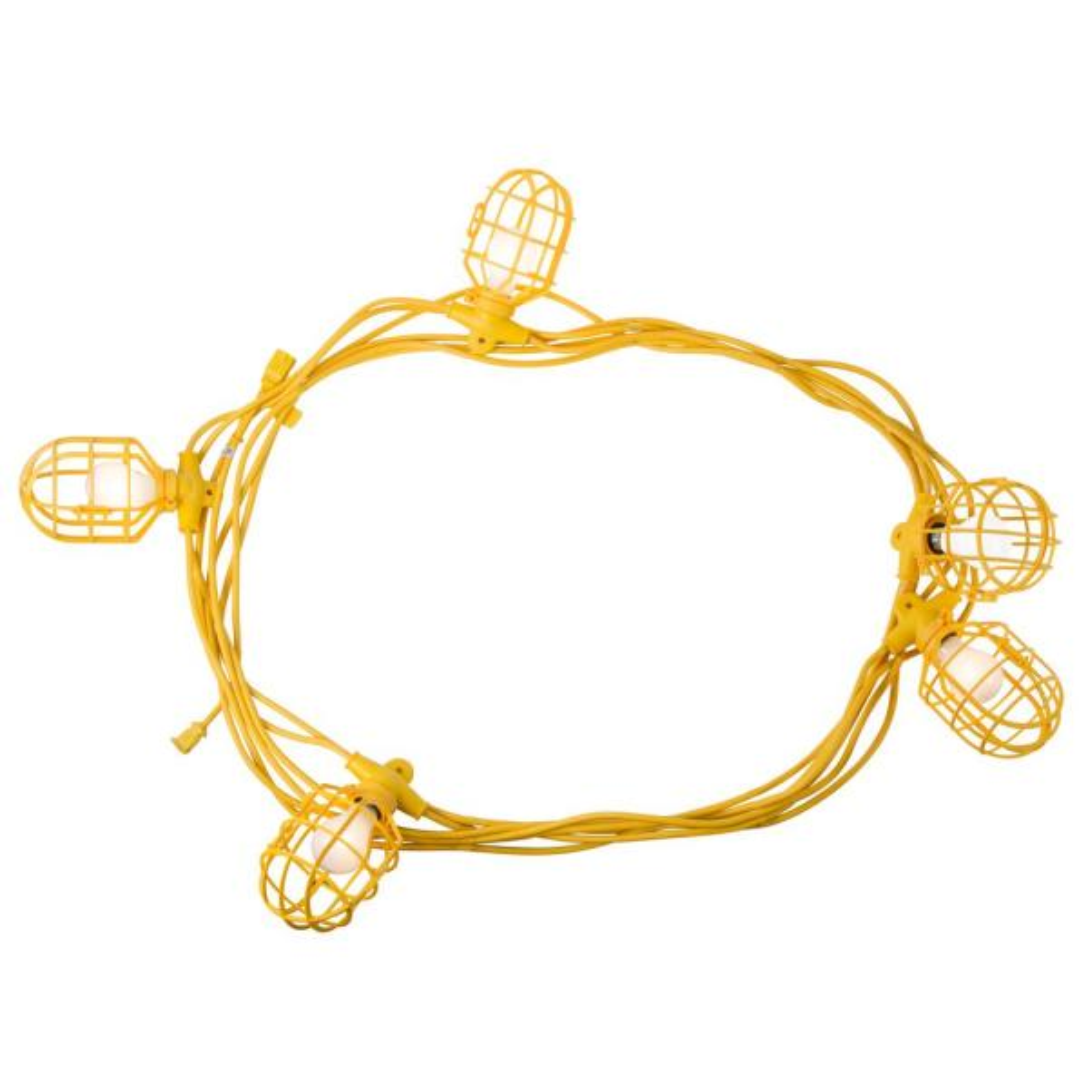 50 ft. 14/2 SJTW 5-Light Plastic Cage Temporary Light Stringer, Yellow