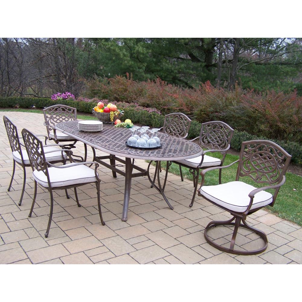 7 Piece Aluminum Outdoor Dining Set With Oatmeal Cushions