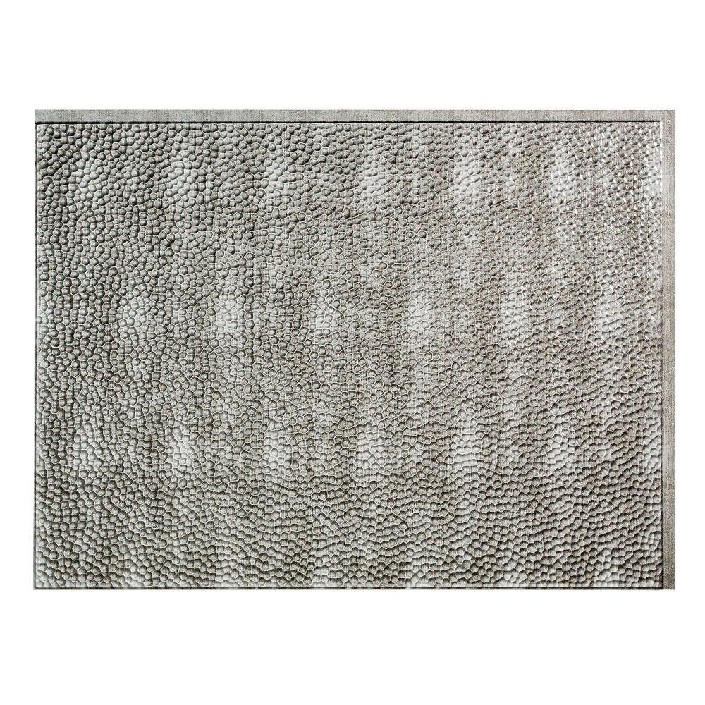 Fasade 24 in. x 18 in. Hammered PVC Decorative Backsplash Panel in Crosshatch Silver