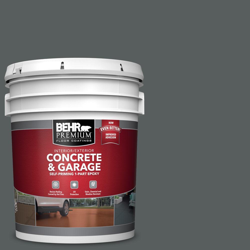 BEHR Premium 5 Gal. #N500-6 Graphic Charcoal Self-Priming 1-Part Epoxy Satin Interior/Exterior Concrete and Garage Floor Paint