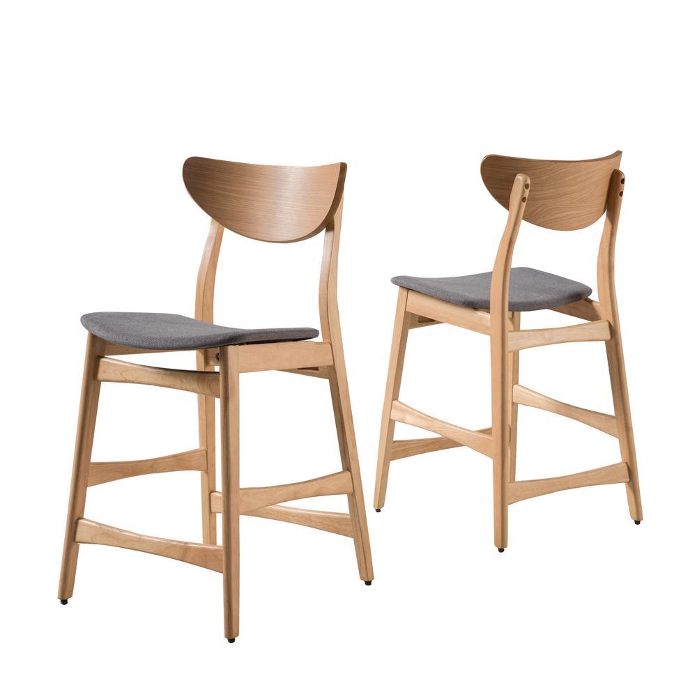 Lawson 24 in. Dark Grey/Oak Finish Fabric Counter Chair (Set of 2)