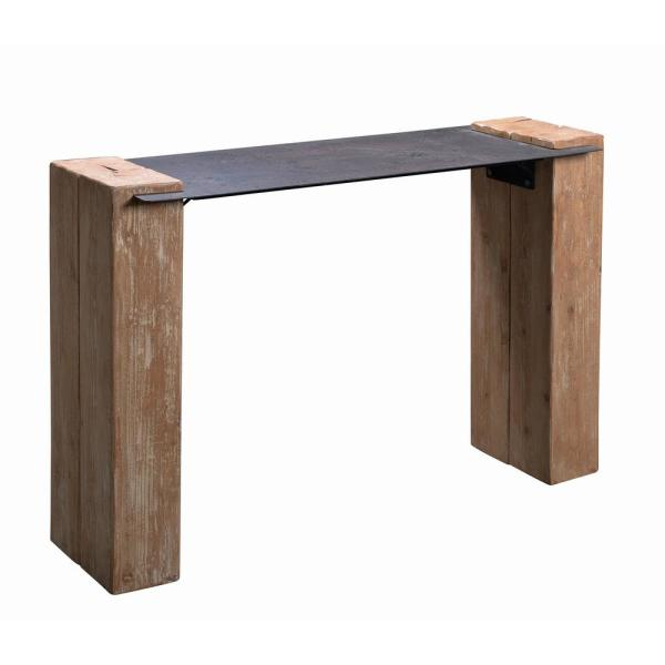 Kenroy Home Carpenter Natural Wood and Iron Finished Console Table 65106IR