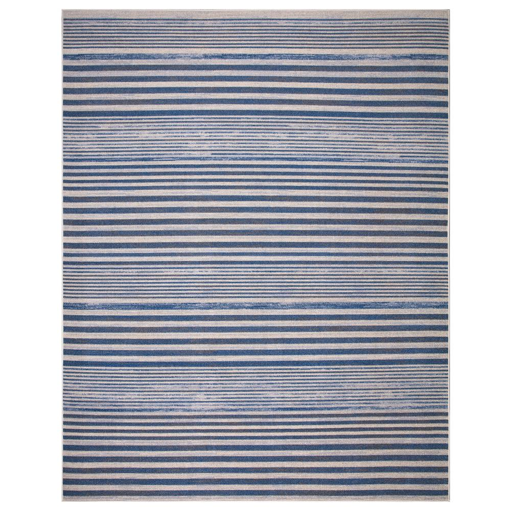 StyleWell Ione Blue/Cream 7 ft. 10 in. x 9 ft. 10 in. Striped Low Pile Area Rug was $138.26 now $82.96 (40.0% off)